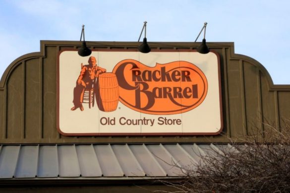 A Cracker Barrel sign outside the storefront.